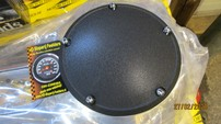 TWIN-Cam DERBY COVER, DOMED STEPPED BLACK WRINKLE 514943